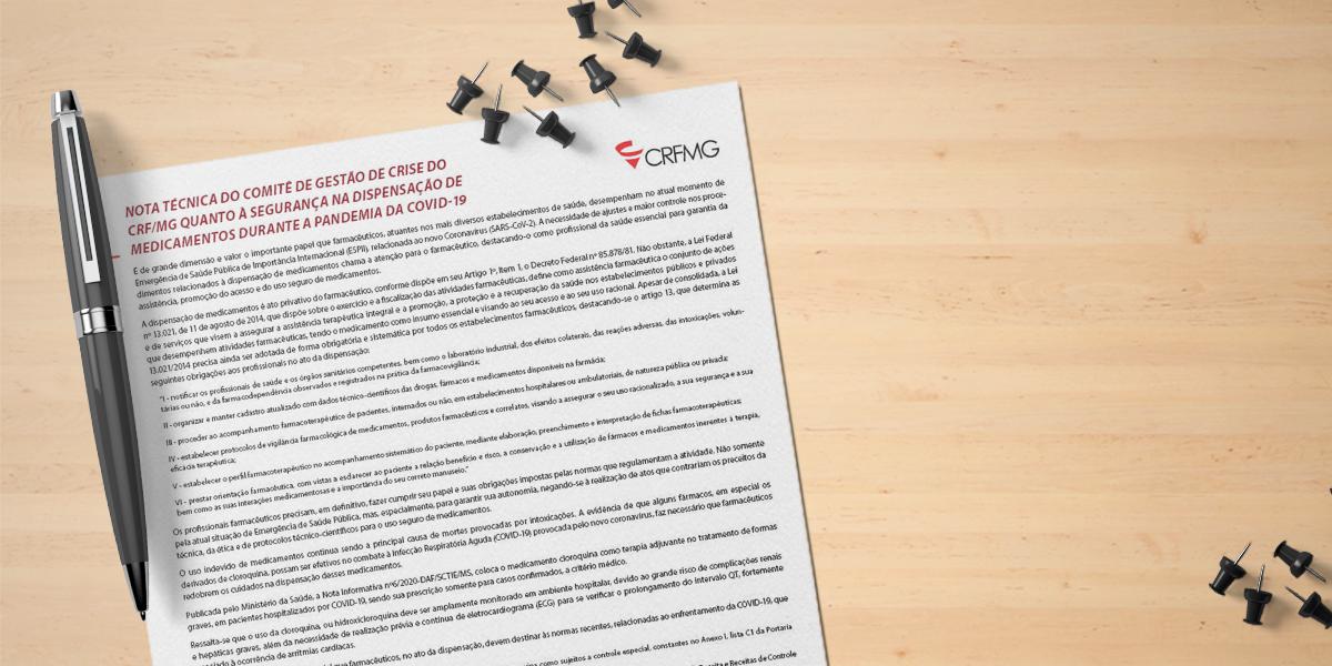 Nota Técnica do Comitê de Gestão de Crise do  CRF/MG quanto à segurança na dispensação de medicamentos